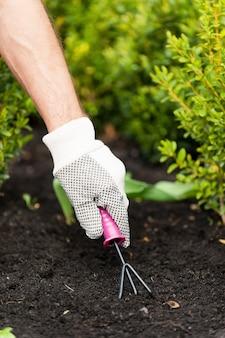 Садоводство. мужчина средних лет работает в саду