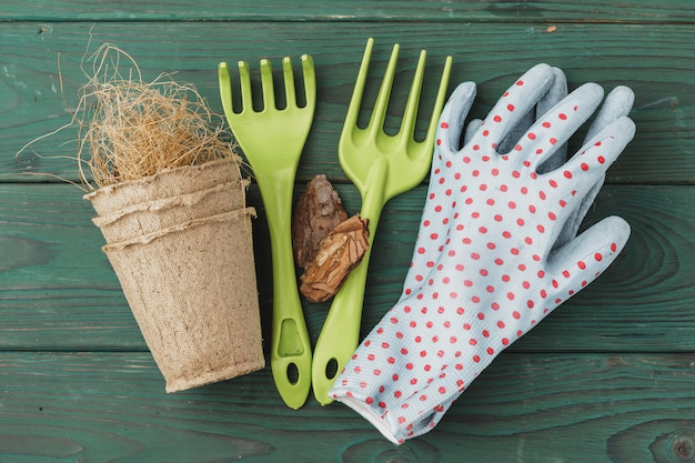 Gardening accessories on a rustic wood