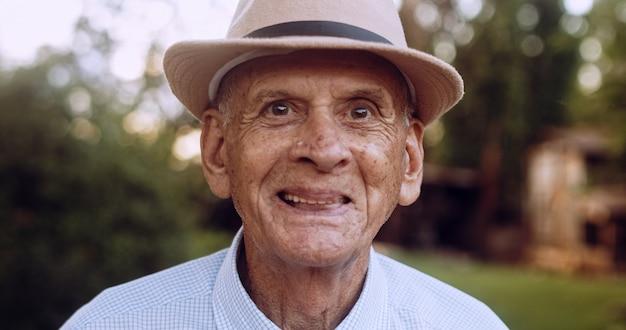 Gardening activity brazilian elderly man