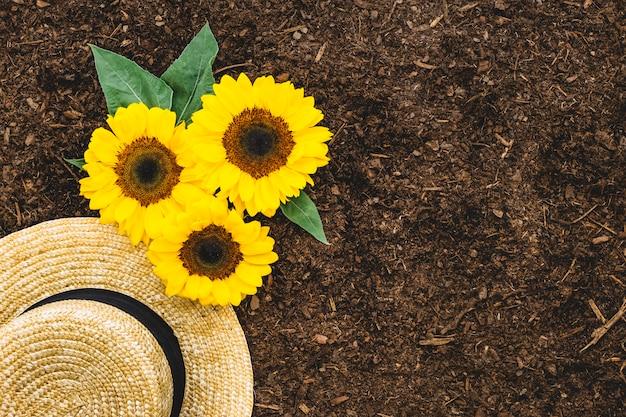 Садовая композиция с шляпой и подсолнухами