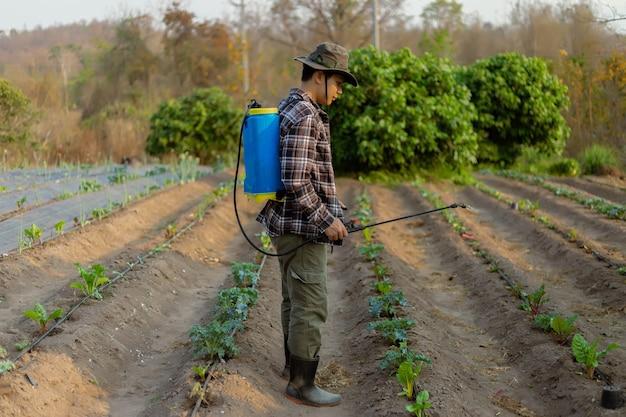 원예 개념 젊은 남성 농부는 해충으로부터 작물을 방지하기 위해 화학 살충제를 살포합니다.