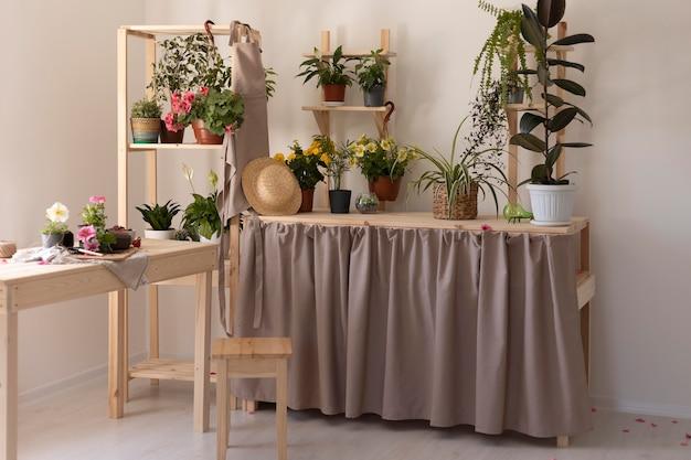 아름다운 식물이 있는 원예 개념