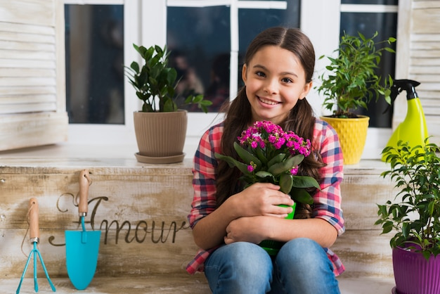 Gardening concept with girl
