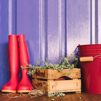 Gardening decoration with gumboots and bucket