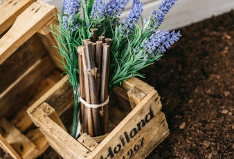 Gardening decoration with wooden box