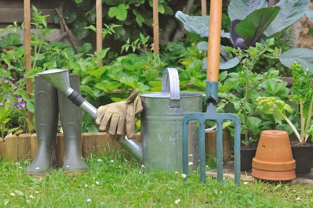 Gardening equipment in garden