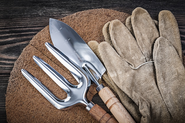 Gardening equipment and tools on wooden table