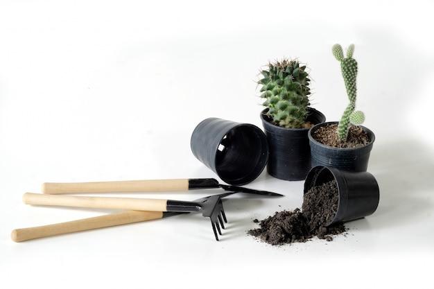 Gardening mockup, plant pots and shovel on white