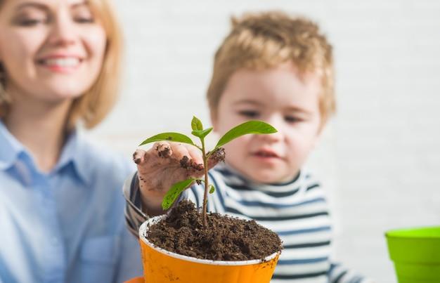 화분 소년에 꽃을 심는 어린 소년과 함께 원예 심기 엄마는 어머니가 돌보는 데 도움이됩니다