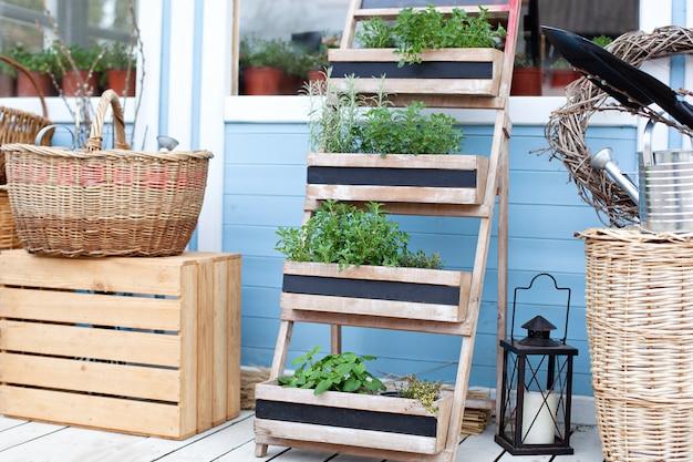 園芸。春の庭鉢植えの植物。青いカントリーハウスの壁に庭の機器の横にあるwのバスケット。夏の季節休暇。裏庭のカントリーハウスの装飾