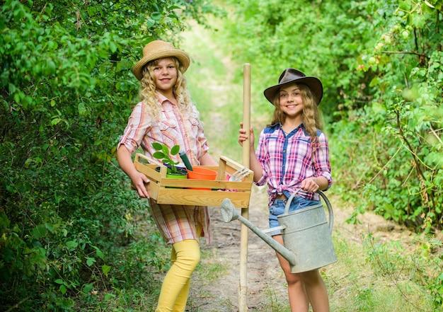 원예 교육 라이프 사이클 프로세스. 시골에서 여름입니다. 정원 가꾸기를 위한 도구가 있는 어린이 소녀. 정원 그레이트 플레이스는 아이들을 위한 의미 있고 재미있는 학습 경험을 길러줍니다. 원예 기본.