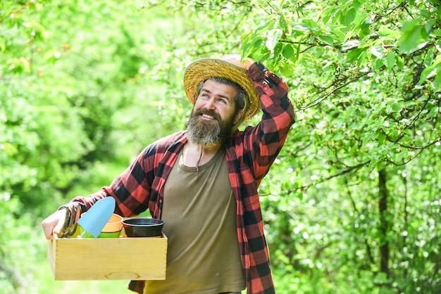 ガーデニングのヒント。ガーデンケア。成熟した農民が植物を植えています。植え付けの季節。収穫を収集している男性のひげを生やしたヒップスター。牧場の男。有機農場。ガーデニングツール付きの庭師ホールドボックス。ガーデニングのアドバイス。