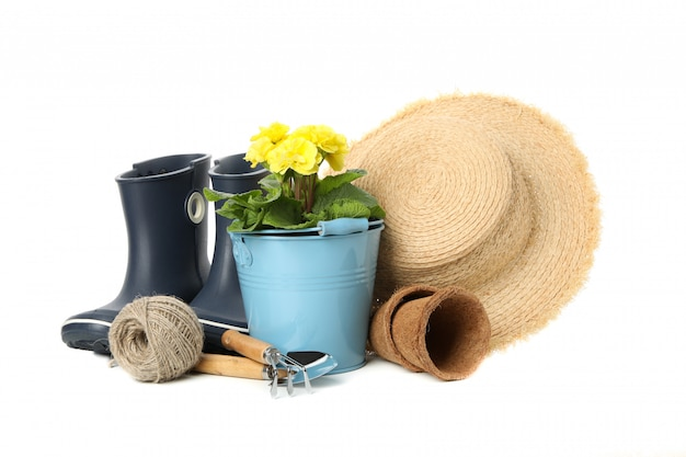 Gardening tools and accessories isolated on white isolated