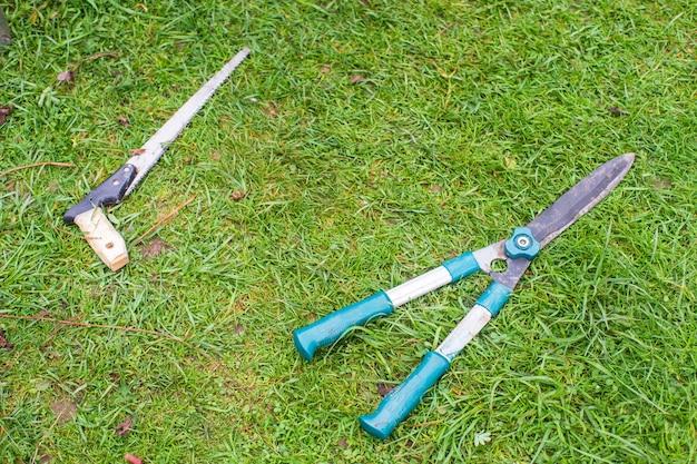 원예 도구. 농업 개념입니다. 농사철. 가위와 톱.