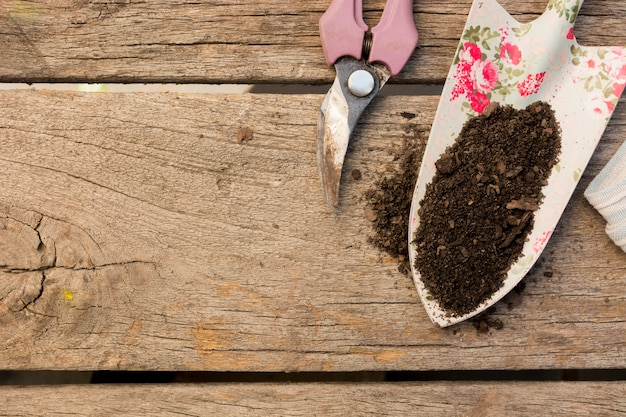Gardening tools arrangement on wooden background with copy space