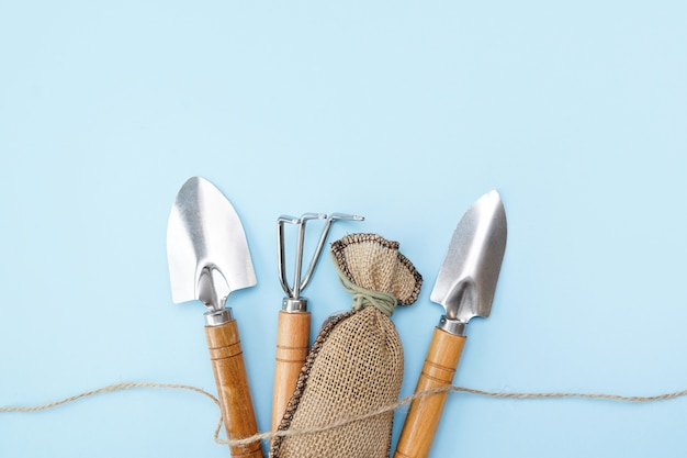 Gardening tools on blue wall with copy space Premium Photo