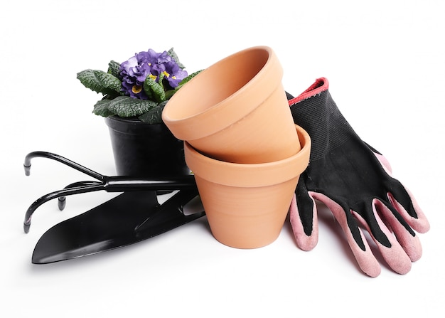 Gardening tools and flower pot isolated
