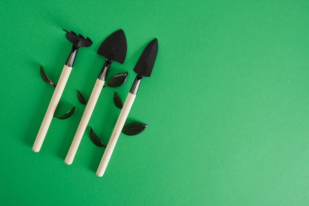 Gardening tools on green background. garedeining concept small shovels and rakes for planting seedlings and indoor plants