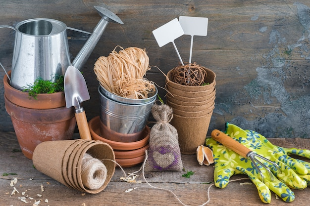 Gardening tools, pots and utensils on rustic wooden background