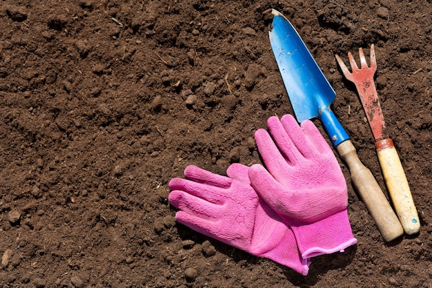 Gardening tools on soil background, top view