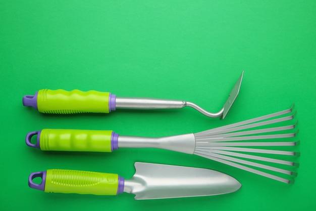 Gardening tools. top view. close up