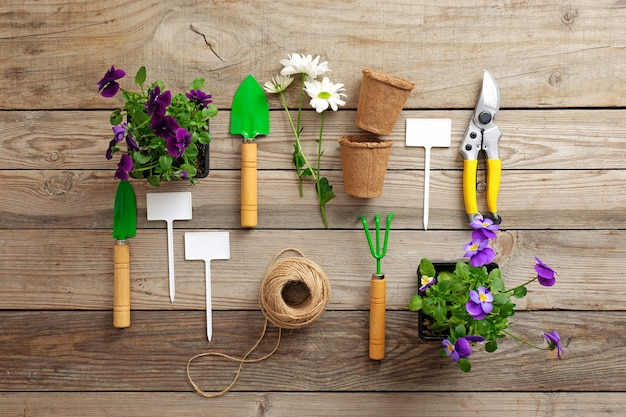 Gardening tools on wooden table.