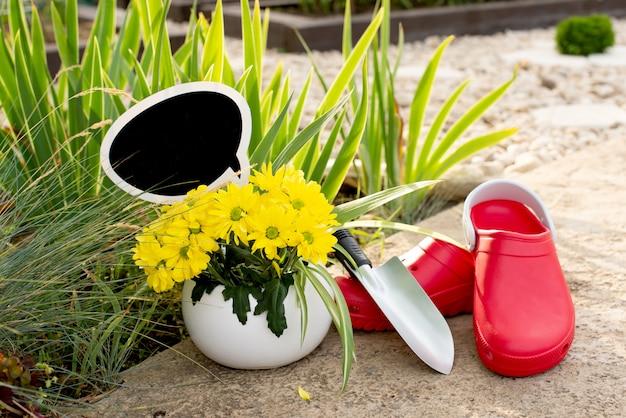 園芸。庭の仕事。ツール、水まき缶、緑の葉の背景に鍋に花。スペースをコピーします。暗い背景の木。ラフボード