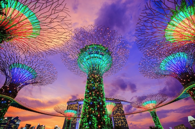 Gardens by the bay at twilight, singapore