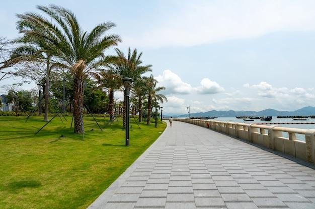 Gardens and fitness trails of binhai park in shenzhen, china