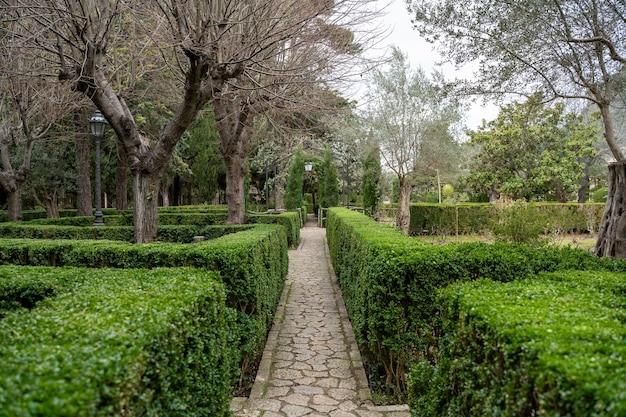 Valldemossa 마을에 있는 rei joan carles의 정원. 팔마 데 마요르카, 스페인