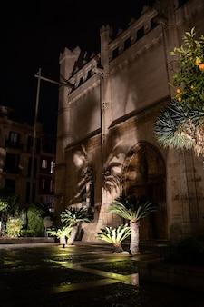 밤, 스페인 팔마 데 마요르카의 역사적인 건물 la lonja의 정원