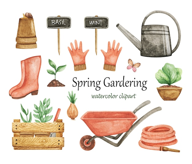 Gardering clipart watercolor, garden tools set, spring garden elements, wheelbarrow, watering can