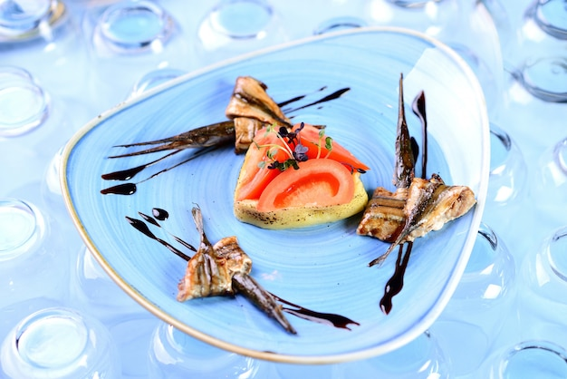 Garfish with vegetables