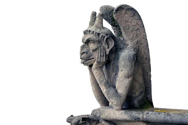 Gargoyle or chimera of notre dame cathedral in paris, france isolated