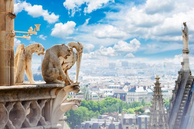 Горгульи парижа на соборной церкви нотр-дам и городской пейзаж парижа сверху, франция
