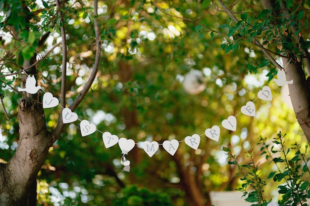 Гирлянда из белых сердец и голубей протянулась между зелеными деревьями