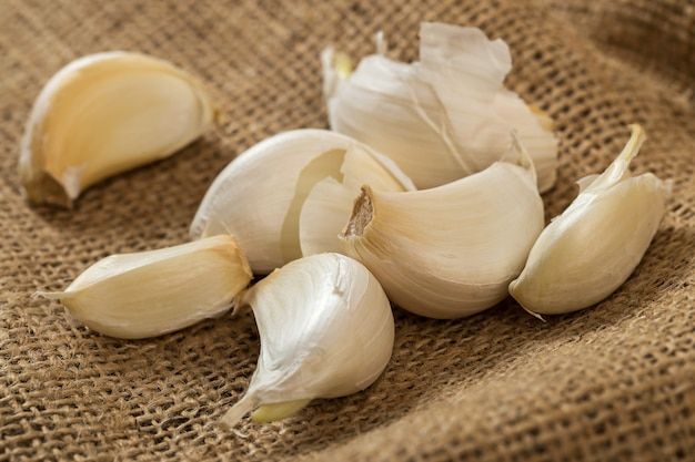 Garlic on blanket