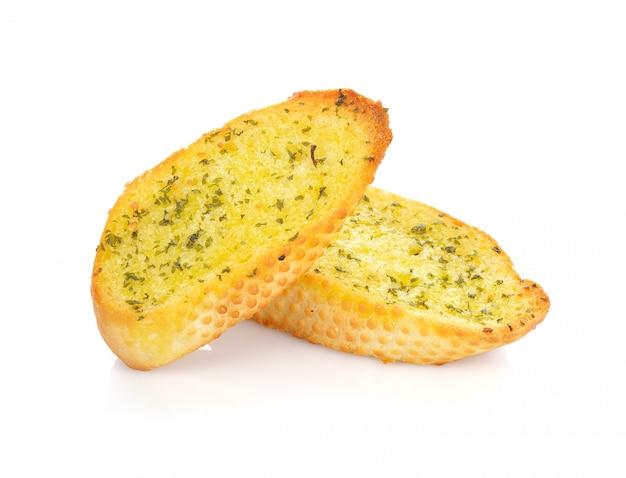 Garlic bread against white