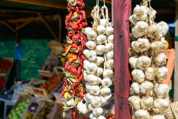 Garlic and chilli on the market