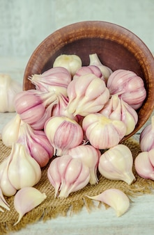 Garlic. food. selective focus. food and garden.