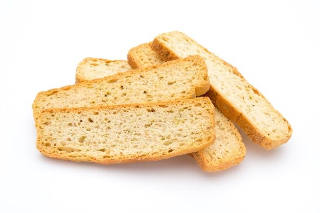 Garlic and herb bread slices. eco food.