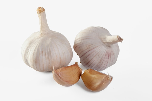Garlic isolated on white wall clipping path