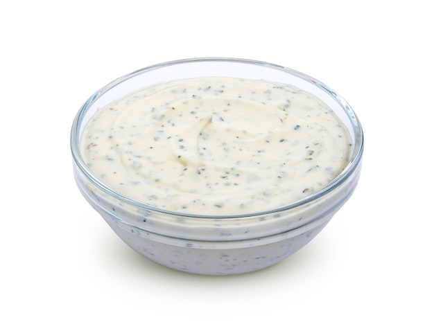 Garlic sauce isolated on white background