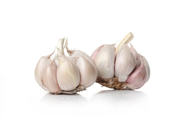 Garlic on a white surface