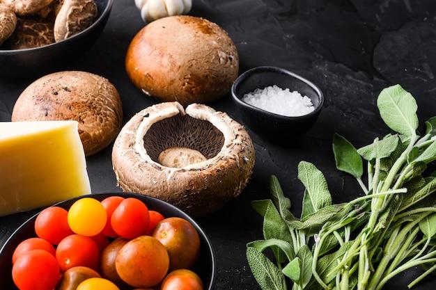 Garlicky portabello mushrooms ingredients for baking