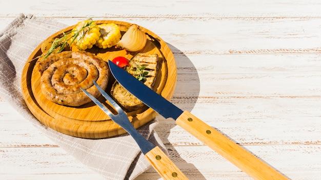 Garnished traditional bavarian spiral sausages