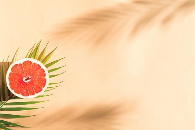 Гарпфрут и пальмовый лист на бежевом цветном фоне баннера