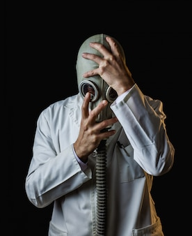 Gas mask doctor with headache symptoms
