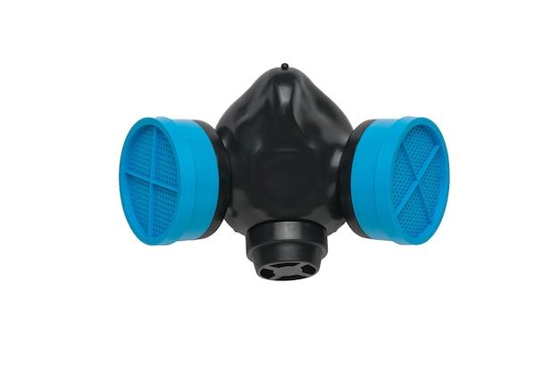 黒い表面に青いフィルターが付いたガスマスク