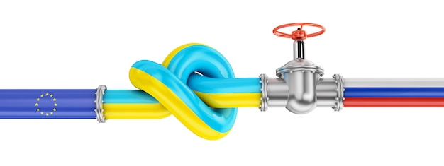 Gas metal pipe with a valve and a knot in the colors of the flags of russia